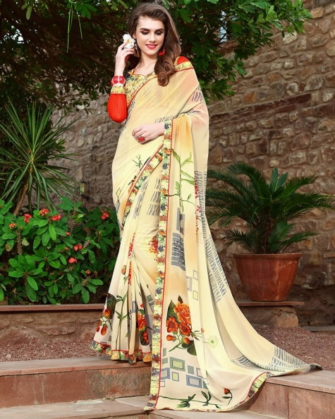 Trendy Designer Cream Weight Less Digital Printed Fancy Saree