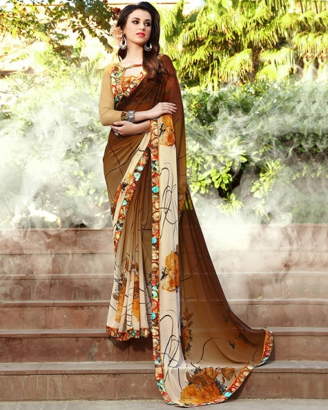 Pretty Designer Brown Weight Less Digital Printed Fancy Saree
