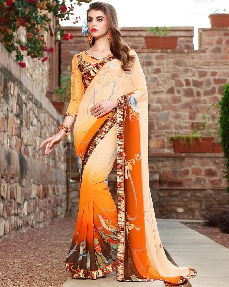 Splendid Designer Orange Weight Less Digital Printed Fancy Saree