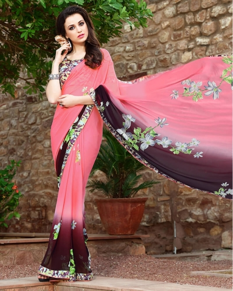 Fabulous Designer Pink Weight Less Digital Printed Fancy Saree