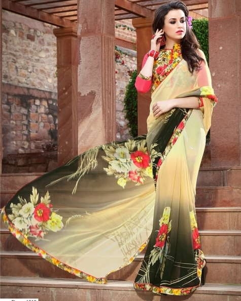 Stylish Designer Yellow Weight Less Digital Printed Fancy Saree