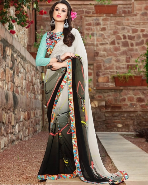 Enchanting Designer Silver Weight Less Digital Printed Fancy Saree