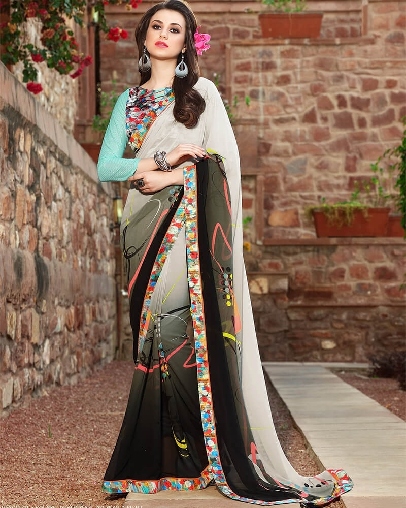 Enchanting Designer Silver Weight Less Digital Printed Fancy Saree