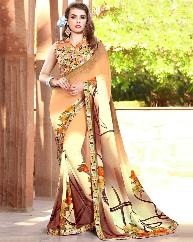 Entrancing Designer Brown Weight Less Digital Printed Fancy Saree