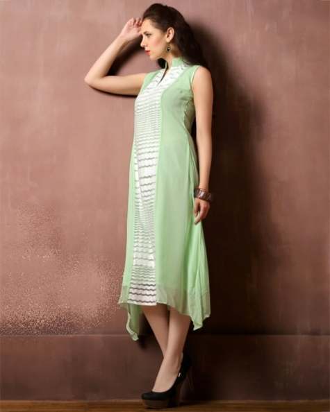 Majestic Light Green Georgette Fancy Kurti