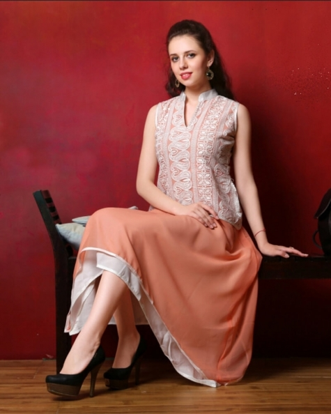 Regal Peach Partywear Georgette Fancy Kurti