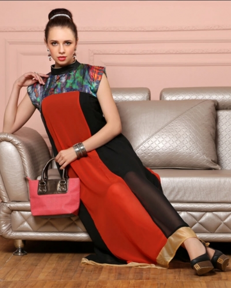 Designer Red and Black Georgette Fancy Kurti