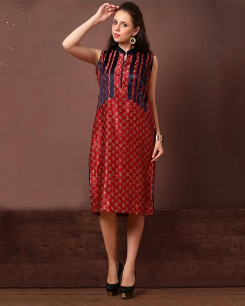 Dazzling Red Black Georgette Partywear Kurti