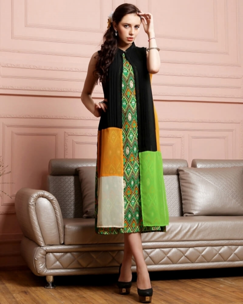 Striking Green Partywear Georgette Kurti