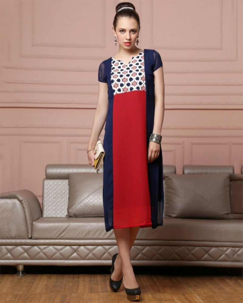 Partywear Red and Blue Georgette Kurti