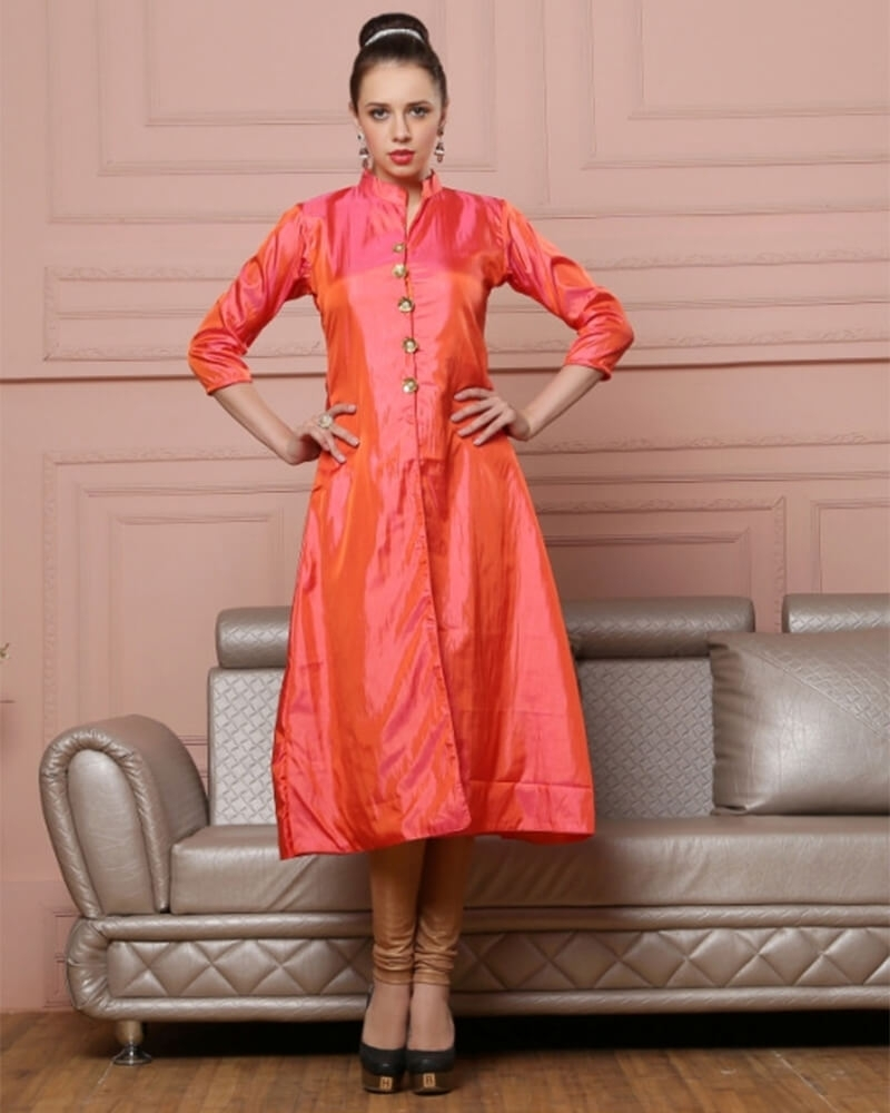 Exquisite Orange Designer Georgette Kurti