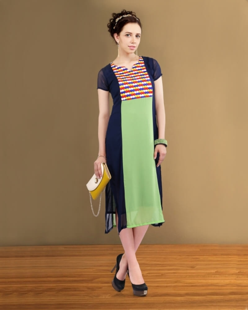 Classic Green and Blue Partywear Fancy Kurti