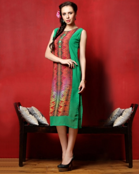 Majestic Green and Red Georgette  Kurti