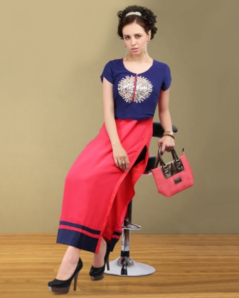 Gorgeous Red Blue Georgette DesignerKurti