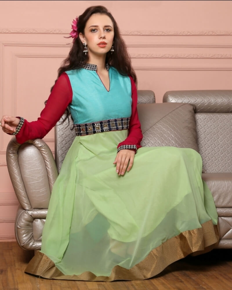 Designer Green Sky Blue Georgette Fancy Kurti