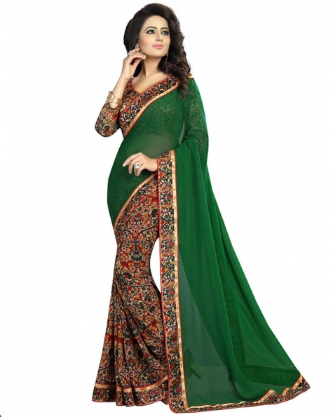 Lovely Green Georgette Printed Saree