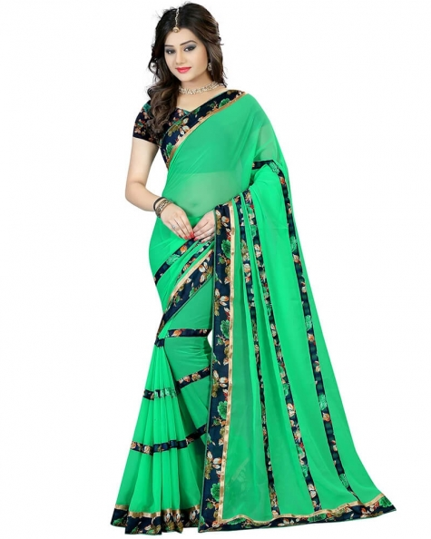 Mesmerizing Green Georgette Printed Saree