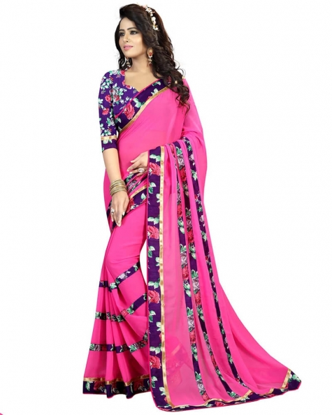 Splendid Pink Georgette Printed Saree