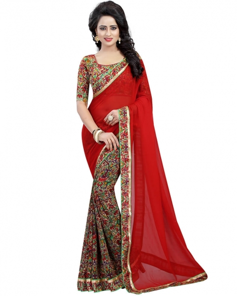 Enticing Red Georgette Printed Saree