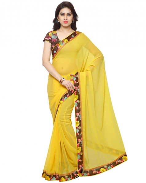Desirable Yellow Georgette Printed Saree