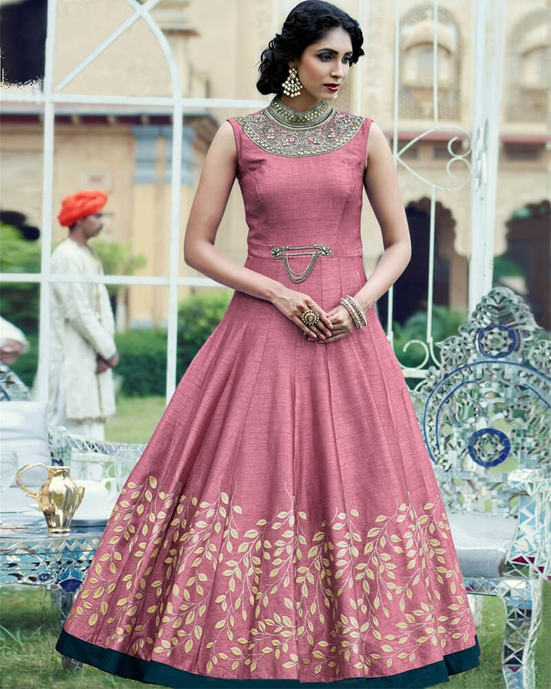 Pretty Pink Banglori Queel Handworked Suit