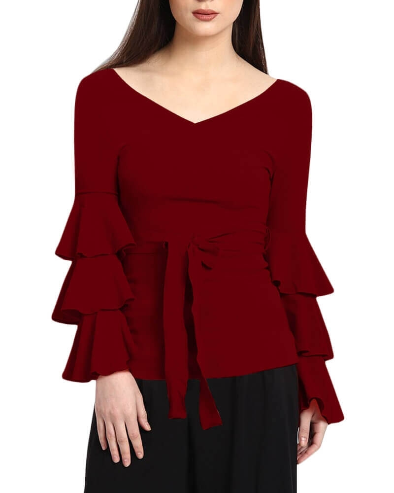 BORONIA RUFFLED SLEEVE TOP