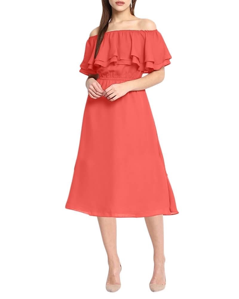 FIELD ROSE OFF SHOULDER DRESS