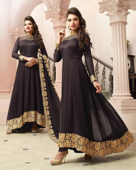 Classic Designer  Brown Georgette Embroidery Salwar Suit