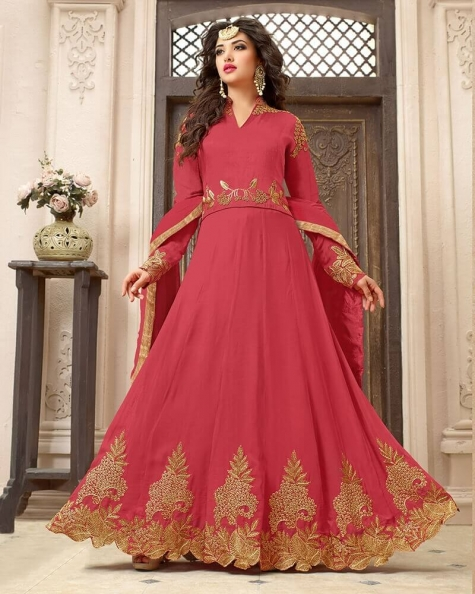 Pretty Pink Georgette Designer Embroidery Salwar Suit