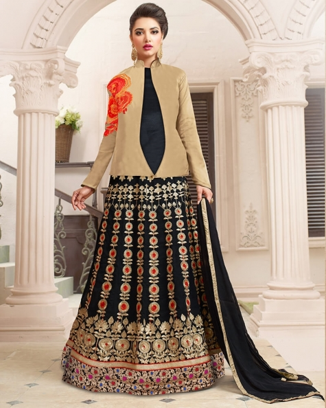 Captivating Golden Designer Embroidery Salwar Suit
