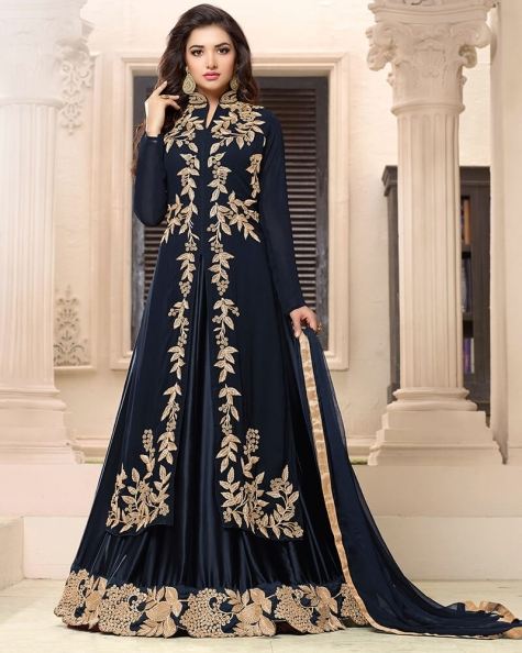 Bold Black Georgette Designer Embroidery Salwar Suit