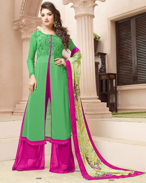 Gorgeous Green Georgette Designer Embroidery  Salwar Suit