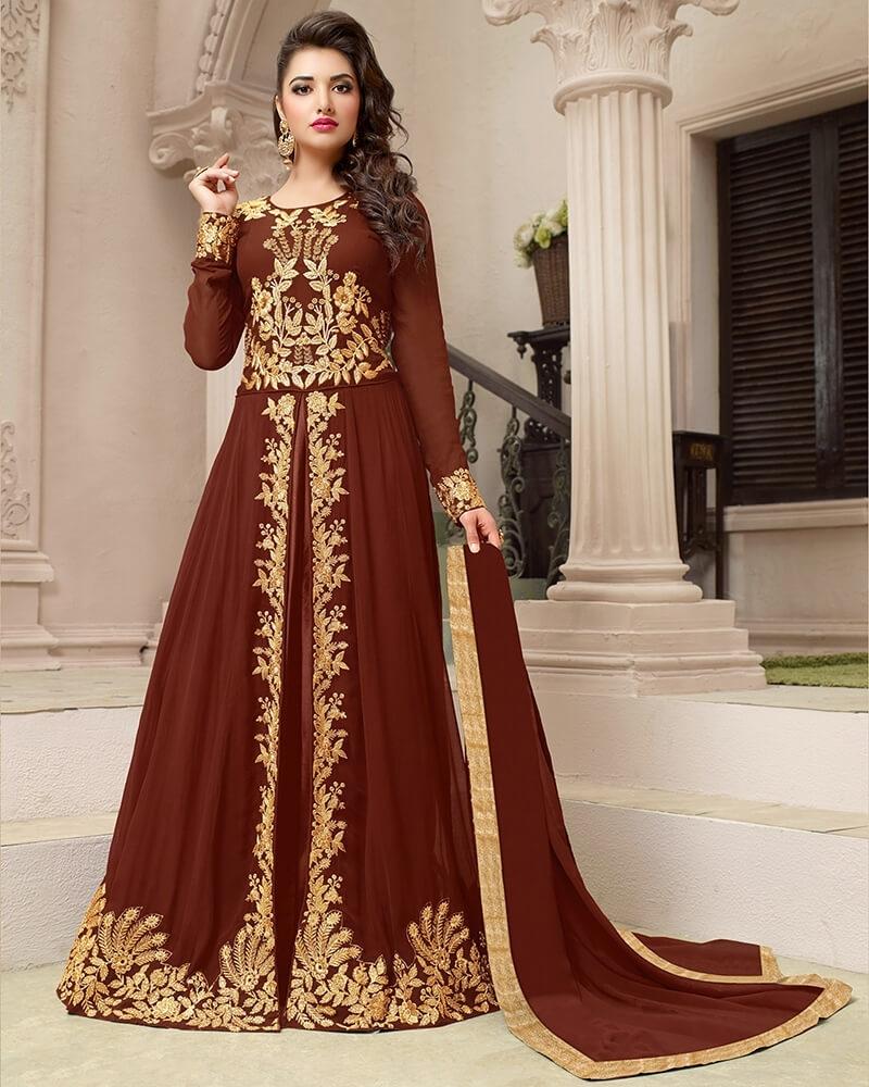 Majestic Maroon Georgette Designer Embroidery  Salwar Suit
