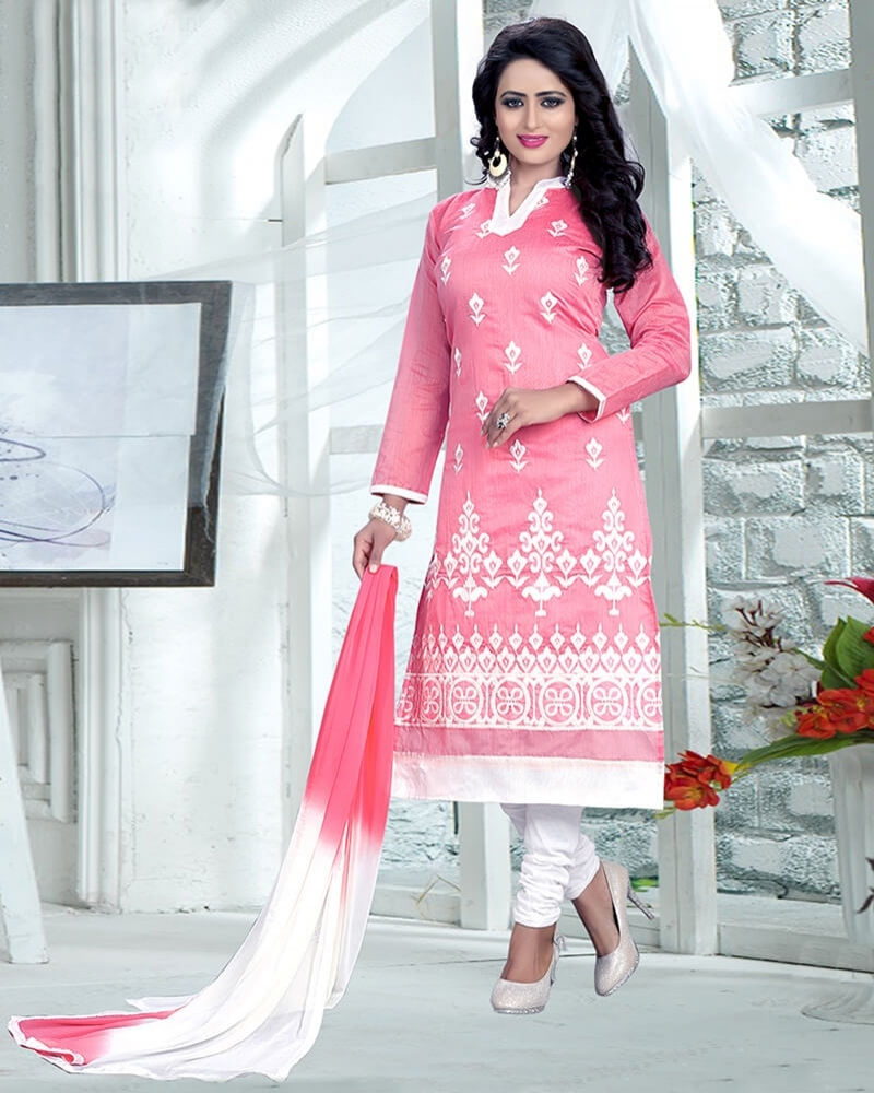 Stunning Designer Casual Pink Pure Cotton Dress Material