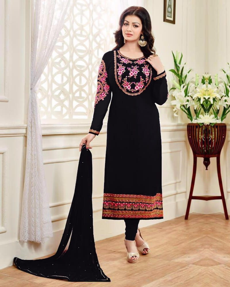 Gorgeous Wedding Embroidery Black Georgette Salwar Kameez