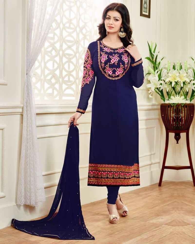 Fabulous Designer Wedding Embroidery Blue Georgette Salwar Kameez