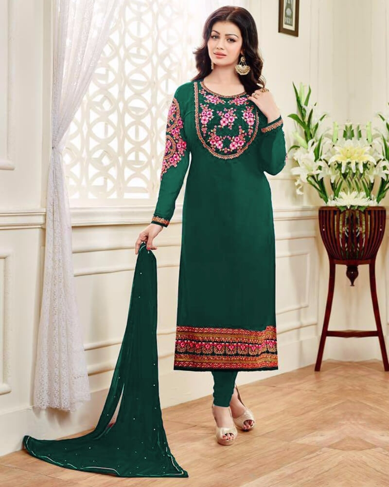 Marvelous Designer Wedding Embroidery Green Georgette Salwar Kameez