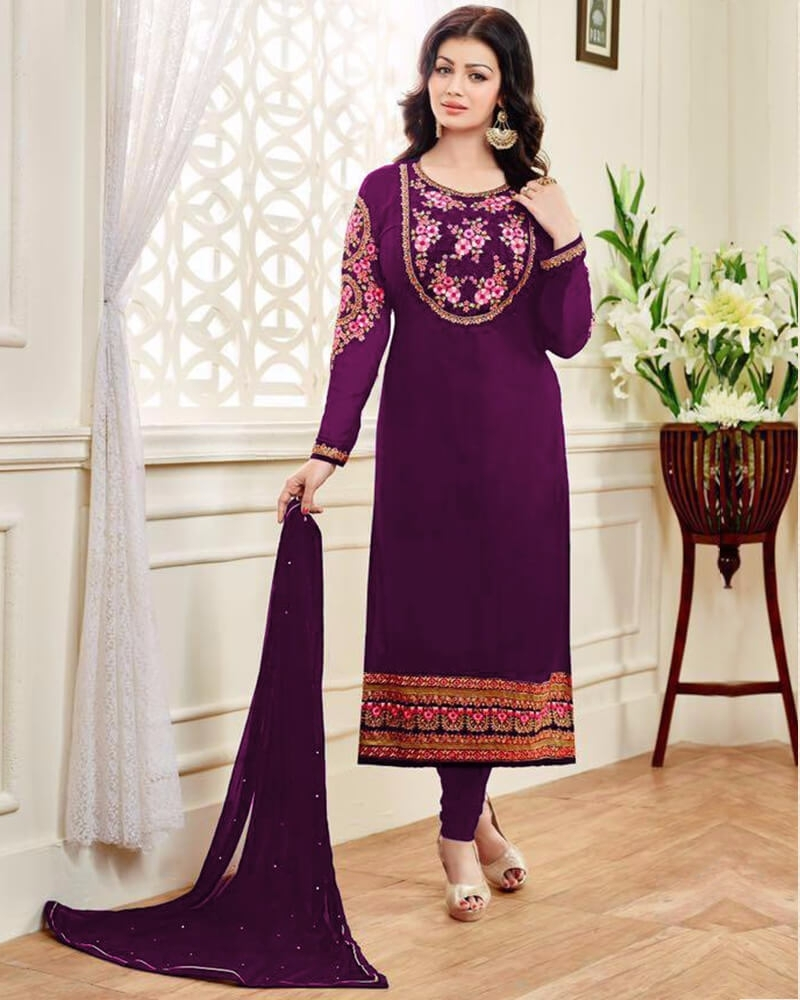 Dazzling Wedding Embroidery Purple Georgette Salwar Kameez