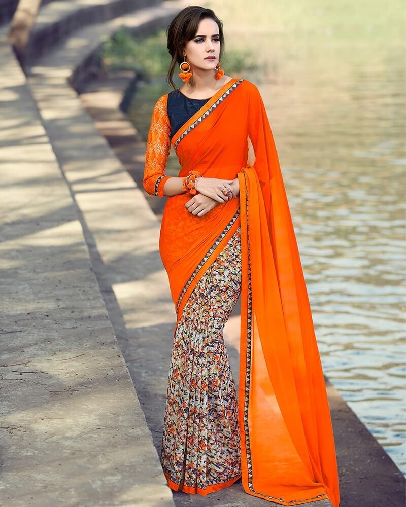 Partywear Orange Designer Georgette Fancy Saree