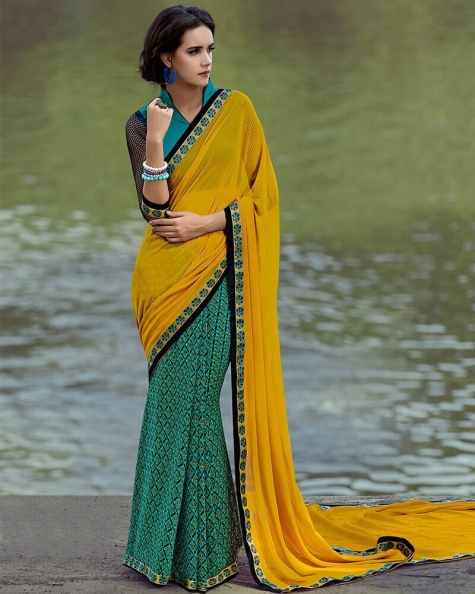 Gorgeous Partywear Orange Digital Printed Designer Saree