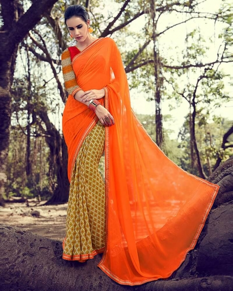 Attractive Partywear Georgette Designer Fancy Saree