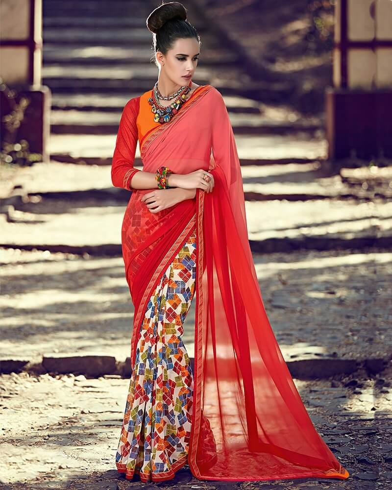 Captivating Partywear Red Georgette Fancy Saree