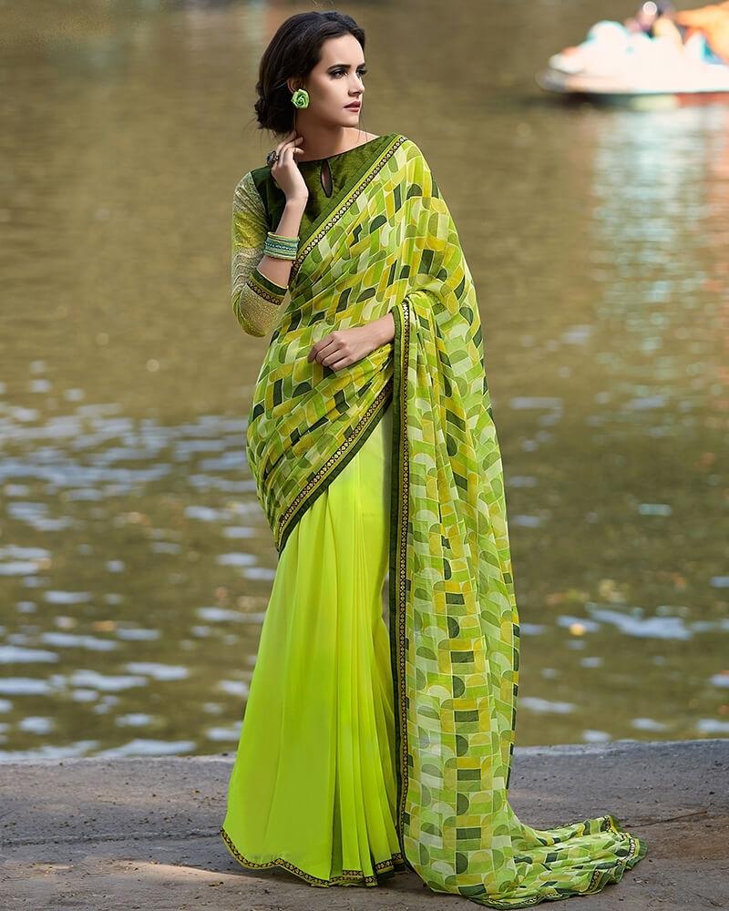 Alluring Designer Partywear Green Georgette Fancy Sare