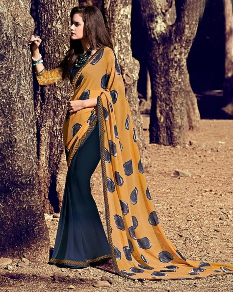 Designer Brown Partywear Georgette Attractive Fancy Saree