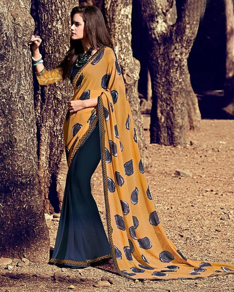 Designer Brown Partywear Georgette Attractive Fancy Saree