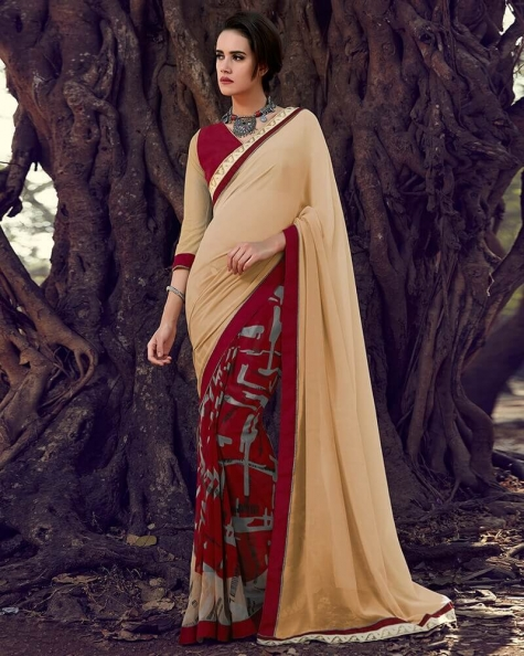 Charismatic Partywear Designer Brown Georgette  Printed Fancy Saree