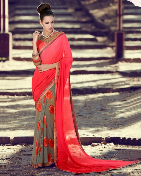 Enchanting Partywear Peach Georgette Designer Fancy Saree