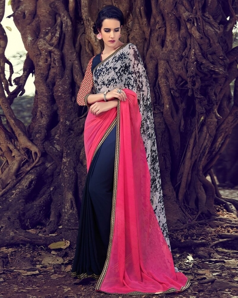Charming Partywear Blue Georgette Designer Fancy Saree