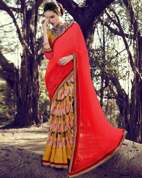 Stunning Designer Partywear Red Georgette Fancy Saree
