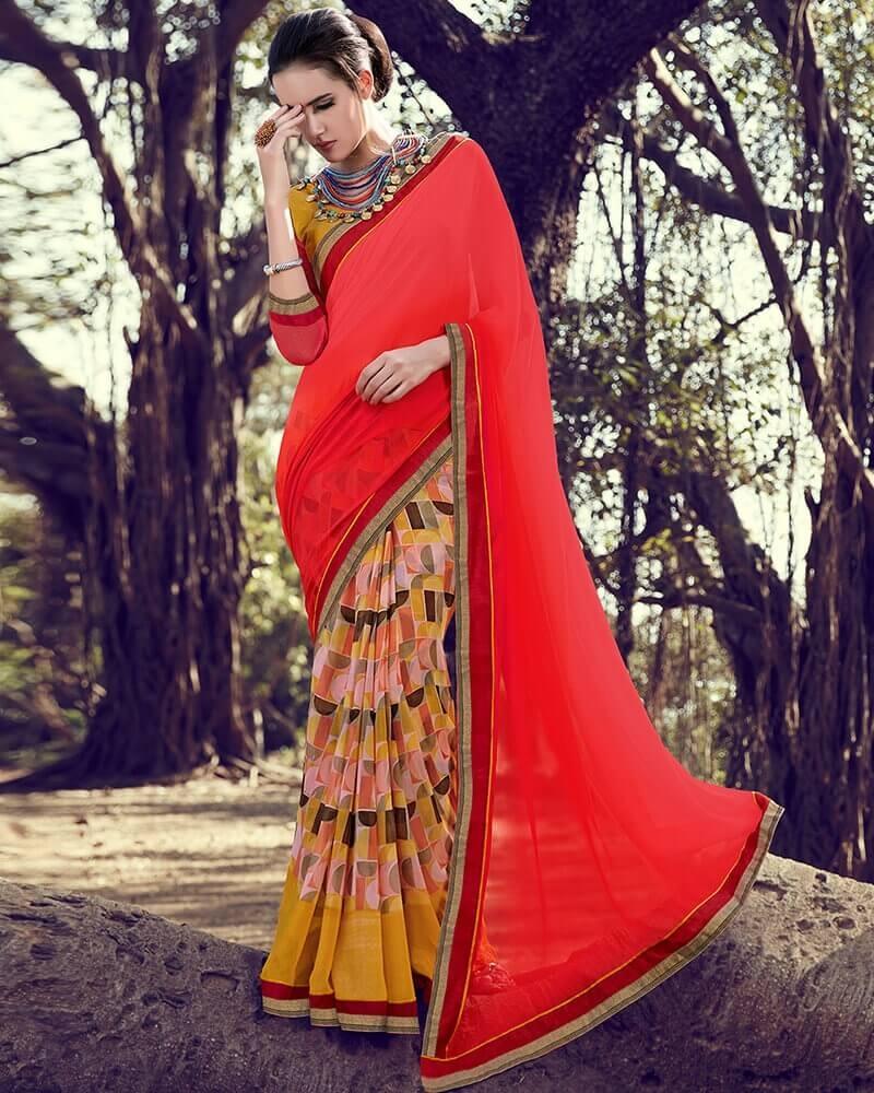 Stunning Designer Partywear Red Georgette Fancy Saree